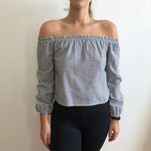 Gray and White Stripped Off-The-Shoulder Top